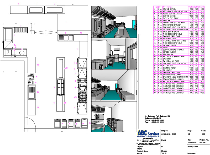 an example of one of abc services techincal drawings of a kitchen layout
